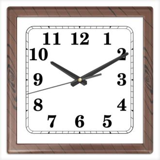 Часы квадратные из пластика (под дерево)
