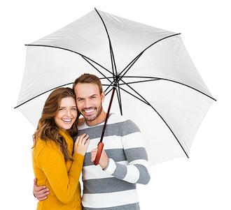 Зонт-трость двусторонний с деревянной ручкой